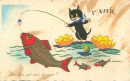 Belle     Carte      - 1er Avril   -  Chat  A La Pêche Au Poisson        Ah995 - April Fool's Day