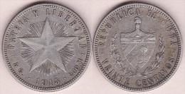 1915-MN-108 CUBA REPUBLICA 20c KM# 13.2 1915. ESTRELLA. SILVER 5 Gr - Cuba
