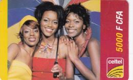 Gabon, Celtel, 2 500 F CFA, 3 Girls, 2 Scans.