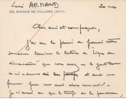 Lettre Autographiée De Monsieur Louis ARMAND,  Adressée Au Colonel REMY - Autographes