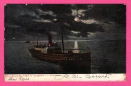 """Scheveningen - Terugkomst V. D. Pleizierboot - Dessin - Paquebot - SCHAEFERS KUNST - 1908 - Colorisée - Cachet """" D 7 """" - Scheveningen"""