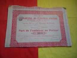 EXPLOITATION DES EXTINCTEURS D'INCENDIE Systeme Abbé D. DANNEY (bordeaux , Gironde) - Actions & Titres