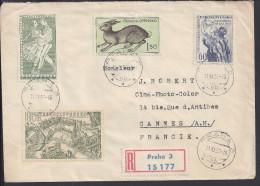 TCHECOSLOVAQUIE - 1955 -  ENVELOPPE RECOMMANDEE DE PRAHA A DESTINATION DE CANNES - FR - - Czechoslovakia