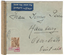 SVIZZERA - SUISSE - HELVETIA - 19?? - Airmail - 25 + 1 Missed Stamp - Opened By Censor - Viaggiata Da Ascona Per Hamb... - Switzerland