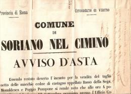 """COLLETTORIE LAZIO-MANIFESTO """"COMUNE DI SORIANO NEL CIMINO AVVISO D'ASTA VENDITA TAGLIO MIACCHIE CEDUE DI CASTAGNO - 1861-78 Vittorio Emanuele II"""