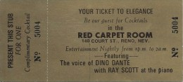 Paper Free Drink Coupon From The Red Carpet Room (Local Bar) In Reno NV