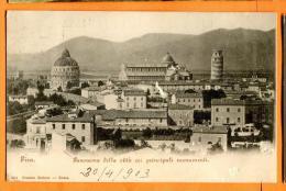PBP-06  Pisa Panorama Della Cittä Coi Principali Monumenti. Pioneer. Visaggiatta In 1903 Verso La Svizzera - Pisa