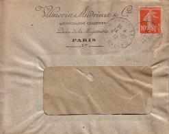 PARIS - 10c SEMEUSE - PERFORATION V.A.C. - VILMORIN ANDRIEUX & Cie MARCHANDS GRAINIERS QUAI DE LA MEGISSERIE EN 1912. - Perfin