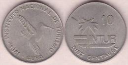 1981-MN-106 CUBA EXCHANGE INTUR COIN. 1981. 10c. KM# 415.1. BIRD AVES PAJAROS COLIBRI ZUNZUN. 10 IN NUMBERS. - Cuba