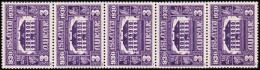 1930. The Parliament. Alltinget. 3 Aur Violet. 5-strip With Pos 91 Variety Side Entranc... (Michel: 125) - JF192294 - Usados