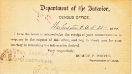 U.S. Penalty Card  1890  (o)  2 Scans  U.S. CENSUS  TAXATION - Covers & Documents