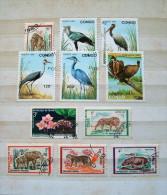 Congo (Brazzaville) 1970 - 1993 Birds Gorilla Lion Elephant Hippopotamus Flowers - Congo - Brazzaville