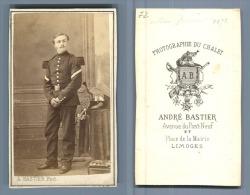 Bastier Limoges, Officier à Identifier CDV, Vintage Albumen  Carte De Visite,  Tirage Albuminé   6,5x10, - Photographs