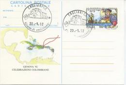 ITALIA - INTERO POSTALE 1992 - CELEBRAZIONI COLOMBIANE - FDC - ANNULLO CAGLIARI - 6. 1946-.. Repubblica