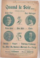 (GB4) Quand Le Soir , JEAN FLOR , ROSE AMY , Suz. VALROGER ; Musique : VINCE3NT SCOTTO , Paroles : ARMAND FOUCHER - Partitions Musicales Anciennes