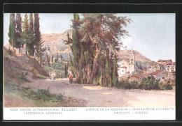 Künstler-AK Gastouri / Corfou, Avenue De La Source De L'Imperatrice Élisabeth - Grèce