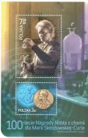 Feuillet ** Sheet Marie Curie Prix Nobel De Chimie - Blocks & Sheetlets & Panes