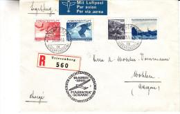 Liechtenstein - Lettre Recommandée De 1946 - Oblit Triesenberg - Premier Vol Par Planeur Vers Wohlen - Cachet De Schaan - Liechtenstein