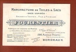 1 Carte 13 X 8,5 Cm Manufacture De Toiles Et Sacs Fourestier Bordeaux - Cartoncini Da Visita