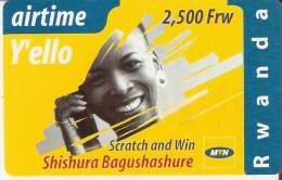 TARJETA DE RUANDA DE AIRTIME Y´ELLO DE 2500 FRW CADUCIDAD 01-12-2004 (RWANDA)
