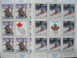 Yugoslavia-Calgary Winterl Olympics 1988  SC#1884-85  MI# 2264-2265 - Ete 1988: Séoul
