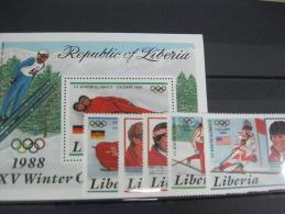 Liberia-Calgary Winterl Olympics 1988  SC#1049-1054  MI#  1355-59 BL112 - Summer 1988: Seoul