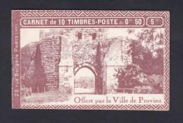Rare Carnet Pub 10 Timbres Semeuse 199 Lignee 50 C Rouge Offert Par La Ville De Provins - Carnets