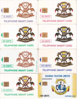 8 Télécartes OUGANDA Différentes (bon état) - Uganda