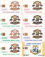 8 Télécartes OUGANDA Différentes (bon état)