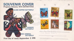 New Zealand 1970 Definitives Butterflies Illustrated First Day Cover - FDC