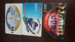 Azerbajian-( 3 Chip Cards)-used-(140,3600,7200units)+2card Prepiad Free - Azerbaïjan