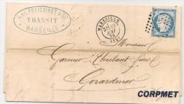 FRANCE - 1874 CARTE POSTALE - SERVICE POSTAL De La CORSE - Alongside Blue Cancel At Back (2nd Scan) - 1871-1875 Cérès