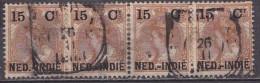 Ned. Indië: 1900 Hulpuitgifte 15 / 15 Cent Bruin NVPH 33 In Strip Van 4 - Niederländisch-Indien