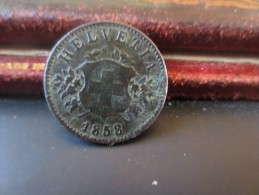 SUISSE- 20 Cent - 1858- TTB+- VOIR PHOTOS - Svizzera