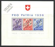 776 - Wehranleihe 1936 - Block Gestempelt VOLKEN (ZÜRICH) - Blocs & Feuillets