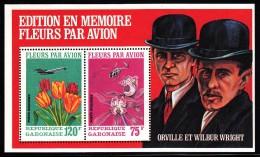 Gabon MNH Scott #C111a Souvenir Sheet Of 2 Flowers By Air 75fr Orchids, 120fr Tulips Selvedge: Wright Brothers - Gabon (1960-...)