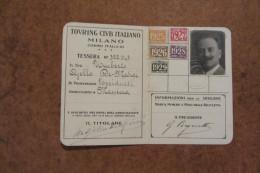 TESSERA TOURING CLUB ITALIANO MILANO ANNO 1925-1929 CON MARCHE_ SPA AUTOMOBILI TORINO - Autres Collections