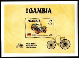 Gambia MNH Scott #629 Souvenir Sheet 12d 1924 Steiger 10/50 Automobile - Karl Benz Centenary - Gambie (1965-...)