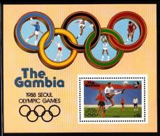 Gambia MNH Scott #701 Souvenir Sheet 15d Soccer - 1988 Summer Olympics, Seoul - Gambie (1965-...)