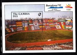 Gambia MNH Scott #1033 Souvenir Sheet 15d Stadium Card Section - 1992 Summer Olympics, Barcelona - Gambie (1965-...)