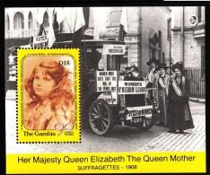 Gambia MNH Scott #1017 Souvenir Sheet 18d Queen Mother As Girl - Queen Mother´s 90th Birthday Selvedge Suffragettes - Gambie (1965-...)