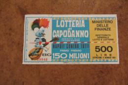 BIGLIETTO DELLA LOTTERIA DI CAPODANNO ABBINATA ALLA TRASMISSIONE NAPOLI CONTRO TUTTI ESTRAZIONE 6.01.1965 LIRE 500 - Other Collections