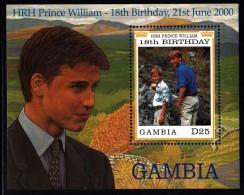 Gambia MNH Scott #2248 Souvenir Sheet 25d Princes William, Harry - Prince William's 18th Birthday - Gambie (1965-...)