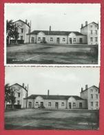 Momignies - La Gare - Epoque : Années 50 - 2 Cartes Postale, Identiques Mais D'éditeur Différent ( Voir Verso ) - Momignies