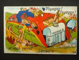 CPA INEDITE Non écrite - Carte à Systeme - LAMBALLE Voyagez Voyagez Et Vous Verrez ... Voiture Tacot à Gazogène - Lamballe
