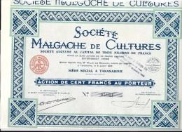 Titre : SOCIETE MALGACHE De CULTURE, TANANARIVE - Actions & Titres