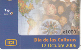 COSTA RICA - Dia de las Culturas, ICE Tel prepaid card C 1000, 10/06, used