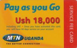 Uganda, MTN, Pay As You Go, Ush 18,000, Service Fee Card, 2 Scans.