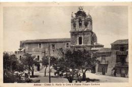 Sicilia-enna-aidone Veduta Piazza Filippo Cordova E Chiesa S.maria La Cava Anni/30 - Italia