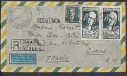 BRESIL - 1954 -  ENVELOPPE DE SAO JOSE DOS CAMPOS EN RECOMMANDE POUR CANNES - FR - - Covers & Documents